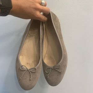 J. Crew taupe studded bow ballet flats size 7